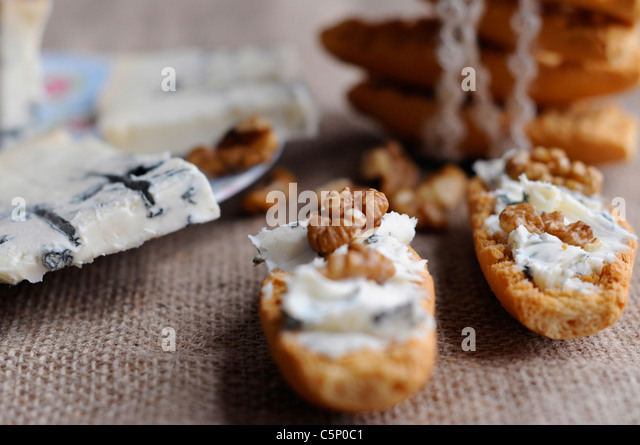 Swedish toast with gorgonzola cheese and nuts - Stock Image