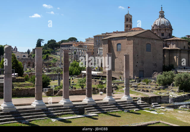 Remains of Basilica Emilia (Basilica Aemilia) in the Roman Forum in the city of Rome, Italy. - Stock Image