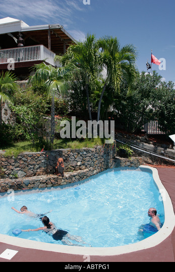 St. Thomas USVI Charlotte Amalie Blackbeard's Hill swimming pool - Stock Image
