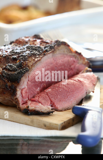 Close up of sliced roast beef - Stock Image