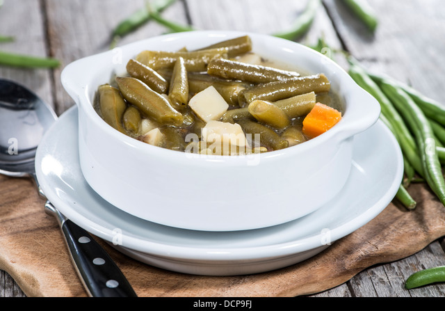 Bowl with fresh made Green Bean stew - Stock Image