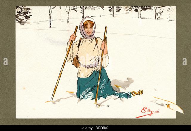 Lady Swiss Skier - Stock Image