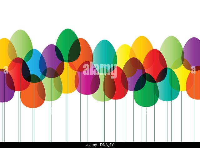 Modern  easter card with color eggs - Stock Image