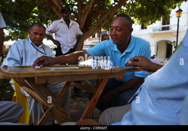 domino players, Santo Domingo, Dominican Republic, Caribbean - Stock Image