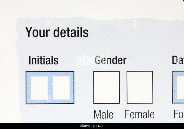 Boxes on form to complete for initials and gender with options of male or female - Stock Image