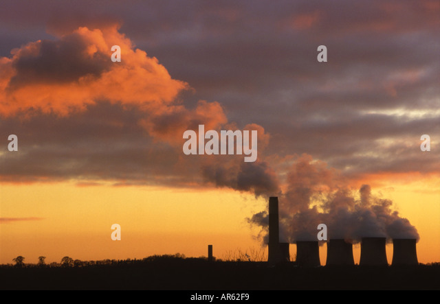 Power Station and Emission Cloud at sunset - Stock Image
