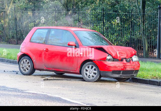 Car crash accident damaged car after collision - Stock Image
