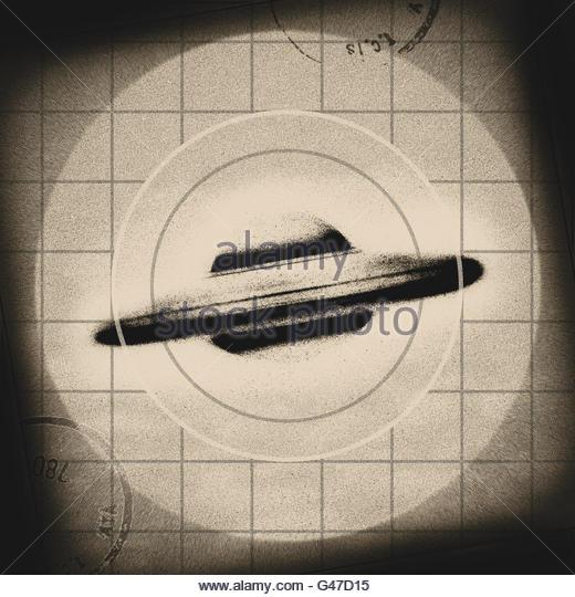 Retro UFO flying saucer mid century atomic retro space age - Stock Image