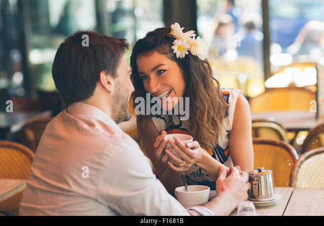 Couple dating in cafe, Paris - Stock-Bilder