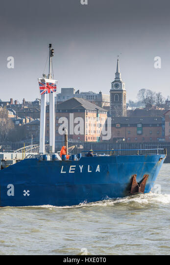 Ship Shipping River Thames Vessel Leyla Bow Prow Steaming Upriver Commerce Trade Importing Gravesend Town - Stock Image
