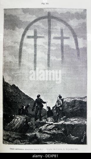 ´Croix aérienne observées aprè la catastrophe du Cervin, le 14 juillet 1865 ´, ´L´Astronomie´ - Stock Image