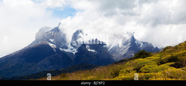 Cuernos del Paine massif, Torres del Paine National Park, Patagonia, Chile, South America - Stock Image