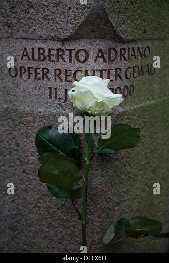 Memorial to Alberto Adriano from Mozambique, who was killed by neo-Nazis in June 2000, city park of Dessau - Stock Image