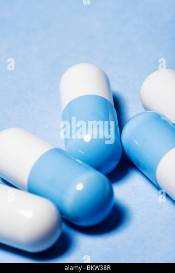 Blue and white medicine - Stock Image