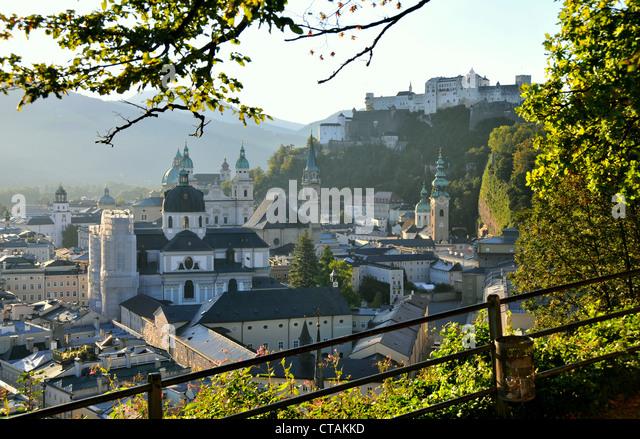 View from Moenchsberg towards Salzburg, Austria - Stock Image