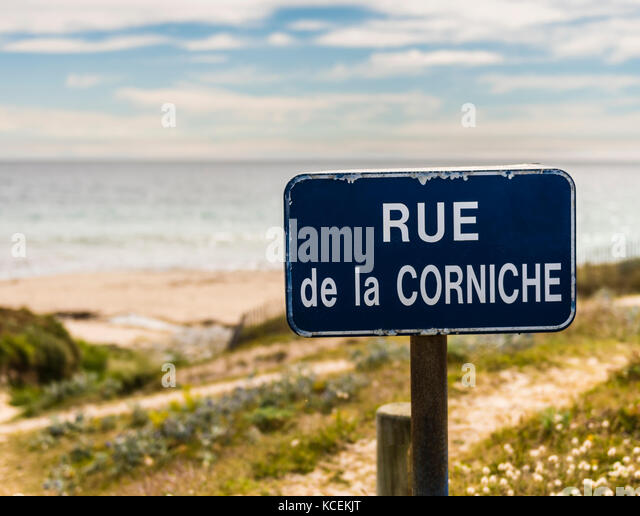 Road sign near Plouhinec, Brittany, France - Stock Image