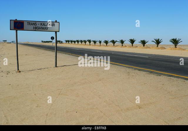 Namibia, Kalahari Desert, Trans-Kalahari highway road sign - Stock Image