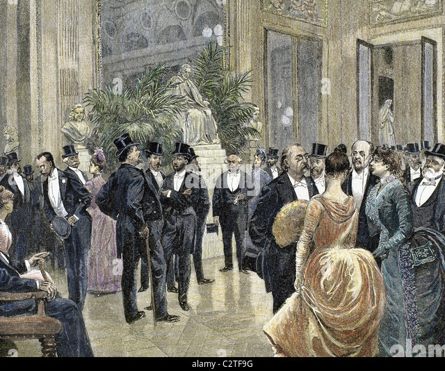 Bourgeois families in the foyer of the Theater Francais. Colored engraving from 1885. - Stock Image
