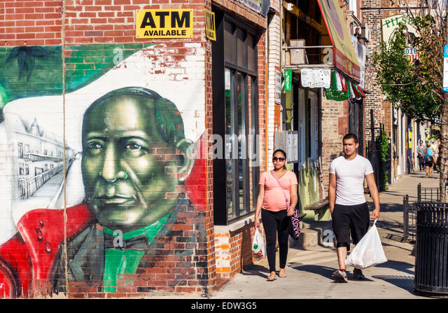 Chicago Illinois Lower West Side West 18th Street mural Mexican president Benito Pablo Juárez García flag - Stock Image