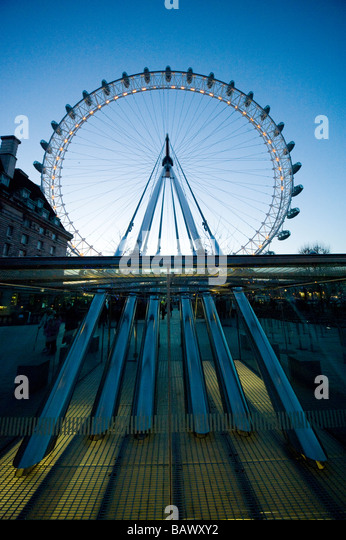 London Eye on the Southbank beside the river Thames London England UK - Stock Image