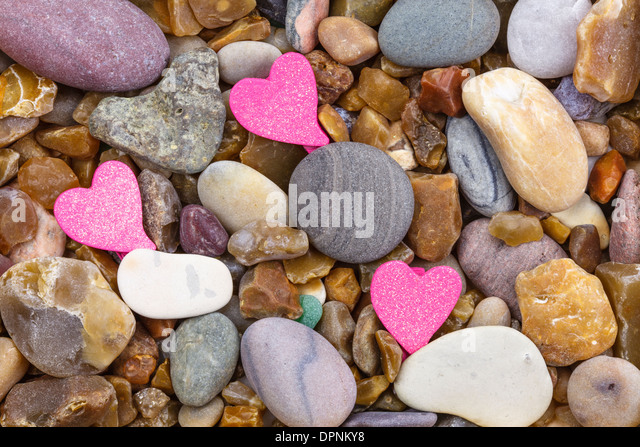 3 Hearts on Pebble - Stock-Bilder