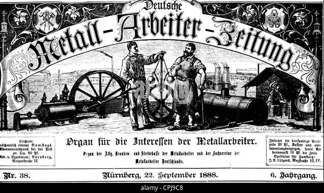 Metal workers' newspaper, 1888 - Stock-Bilder