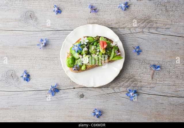 Broad bean and herb tartines with wildflowers - Stock Image