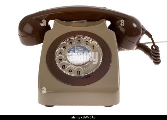 old vintage retro gpo 746 british telecom rotary dial phone from the 1970s uk united kingdom - Stock Image