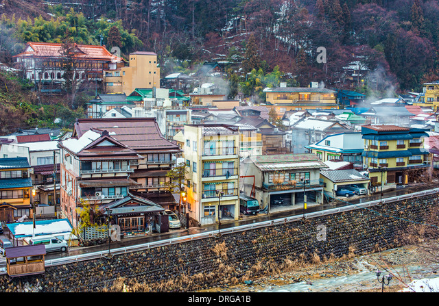 The small town of Shibu Onsen in Nagano Prefecture. The town is famed for the numerous historic bath houses located - Stock-Bilder