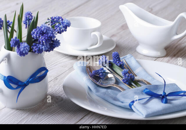 Blue white muscari flower stock photos blue white for Beautiful table settings for spring