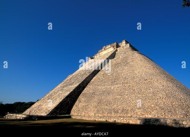 Mexico Yucatan Mayan ruins Uxmal Magician s Pyramid - Stock Image