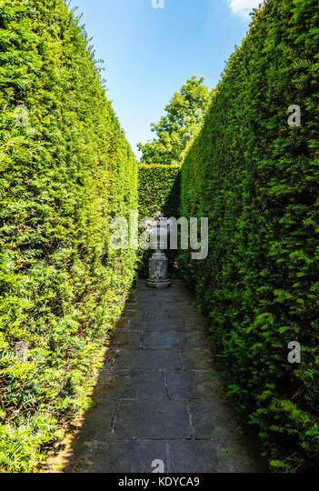 Clipped hedges and statue at Sissinghurst Gardens, Kent, UK - Stock Image