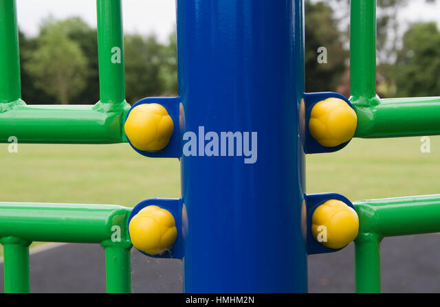 Detail of brightly colored/coloured play equipment - Stock Image