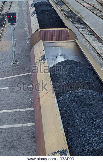 Coal train departing from Avonmouth rail terminal. Imported coal is transported from Avonmouth to various power - Stock Image
