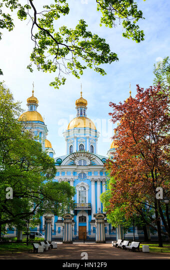 St Nicholas Naval Cathedral, St Petersburg, Russia - Stock Image