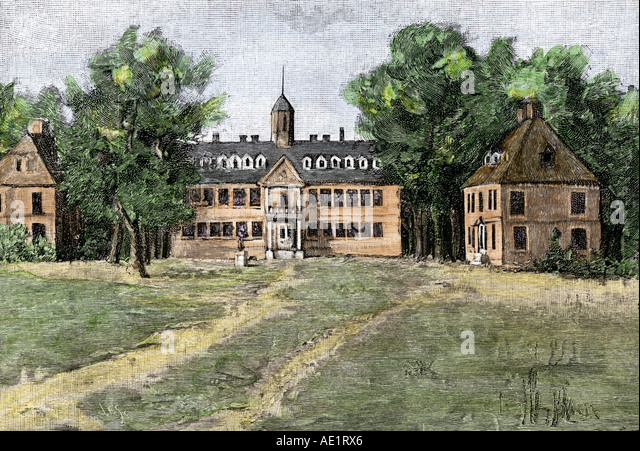 Early view of William and Mary College in Williamsburg Virginia 1700s - Stock Image