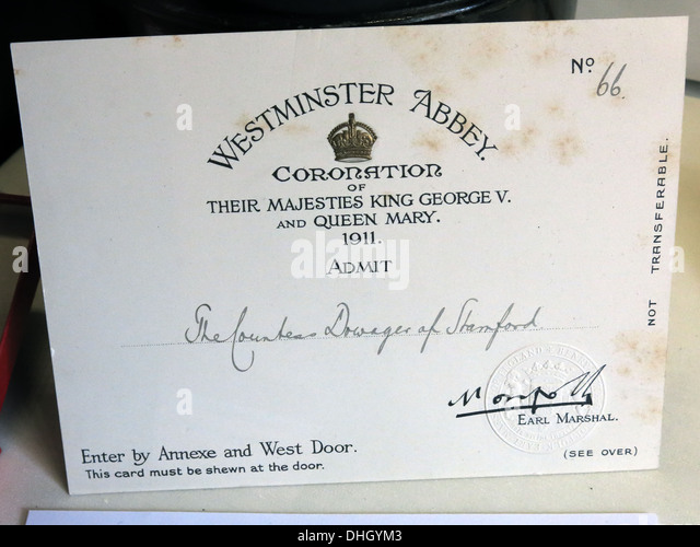 Ticket for 1911 coronation king George V Queen Mary admit countess dowager of Stamford from Dunham Massey NT Altrincham - Stock Image