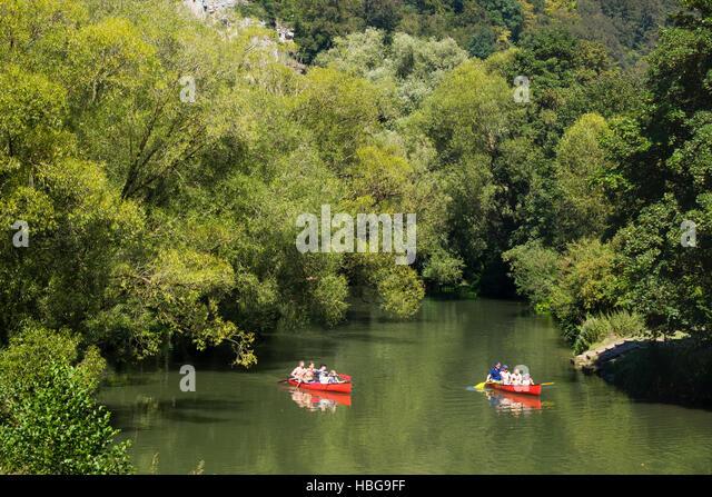 Boating on the Altmühl River, canoes, Hagenacker, Dollnstein, Altmühltal, Upper Bavaria, Bavaria, Germany - Stock Image