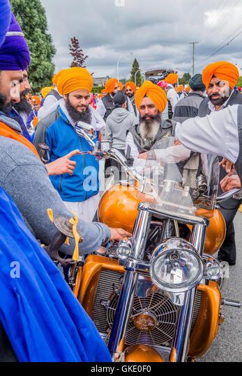 Sikh Motorcycle Club, Vaisakhi Parade and Celebrations, Surrey, British Columbia, Canada, - Stock Image
