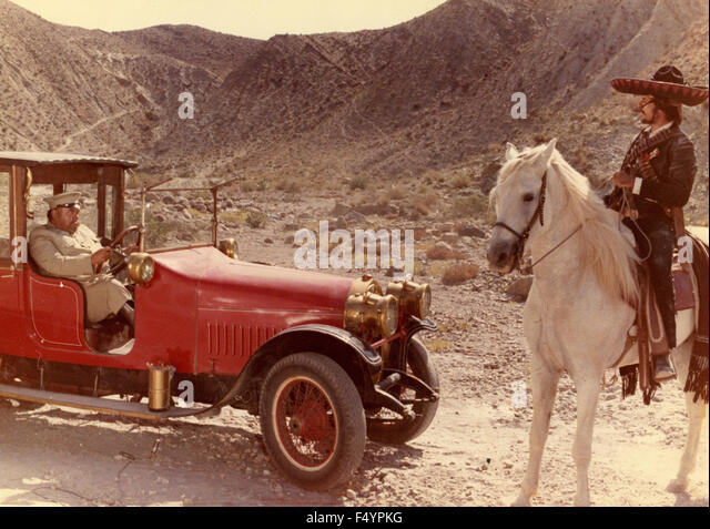 Scene of a film is not identified with a red car early twentieth century - Stock Image