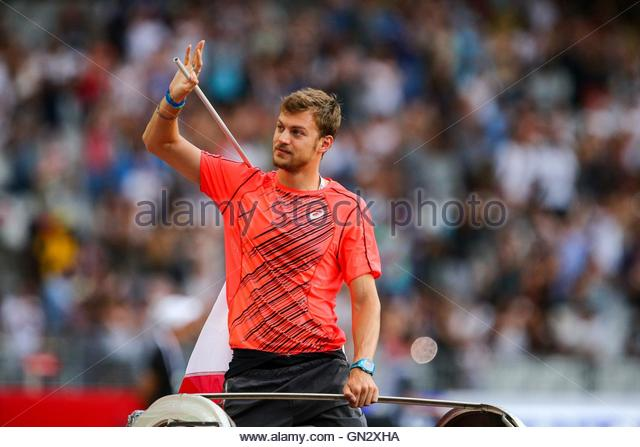 Saint Denis, France. 27th Aug, 2016. French sprinter Christophe Lemaitre parades in the Stade de France on August - Stock Image