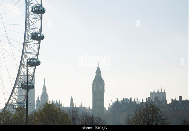 London Skyline with The Houses of Parliament and the London Eye. London. England. UK. - Stock Image