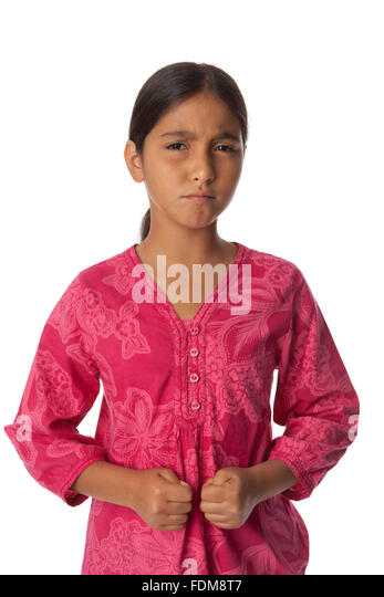 Young angry teenage girl on white background - Stock Image