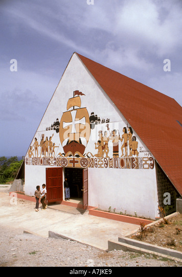 Dominica West Indies Caribbean Carib Reserve Territory Catholic Church at Salybia Paintings of European Explorers - Stock Image