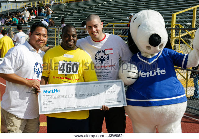 Miami Florida Miami Dade College North Campus Special Olympics disabled competition sports athlete student volunteer - Stock Image