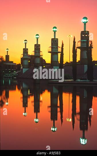ESP Barcelona Park de l Espanya Industrial Barcelona sunset former textil factory  - Stock Image