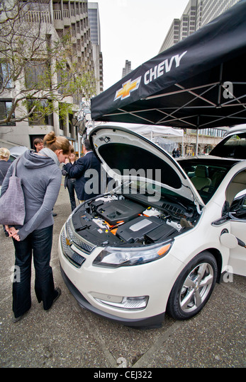 A Chevrolet Volt hybrid gas/electric car is on exhibit in Embarcadero Center in downtown San Francisco - Stock Image