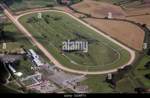 aerial view of Southwell Racecourse, a thoroughbred horse racing venue near Newark-on-Trent, Nottinghamshire, UK - Stock Image