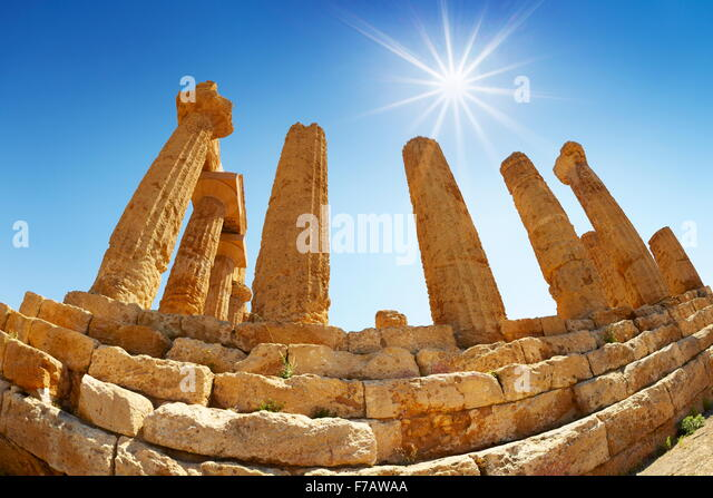 Agrigento - Temple of Hera in Valley of Temples (Valle dei Templi), Agrigento (Girgenti), Sicily, Italy UNESCO - Stock Image