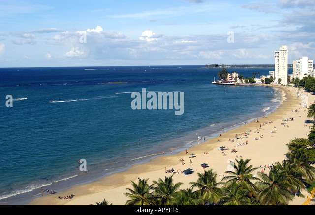 aerial  above San Juan Puerto Rico overview  of  Isla Verde Beach and deep blue caribbean sea - Stock Image